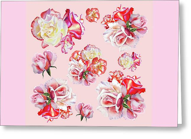 Greeting Card featuring the painting Watercolor Roses Pink Dance by Irina Sztukowski