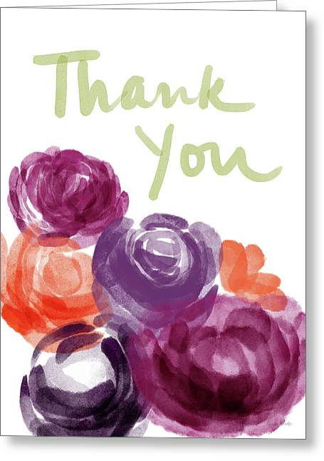 Watercolor Roses Thank You- Art By Linda Woods Greeting Card
