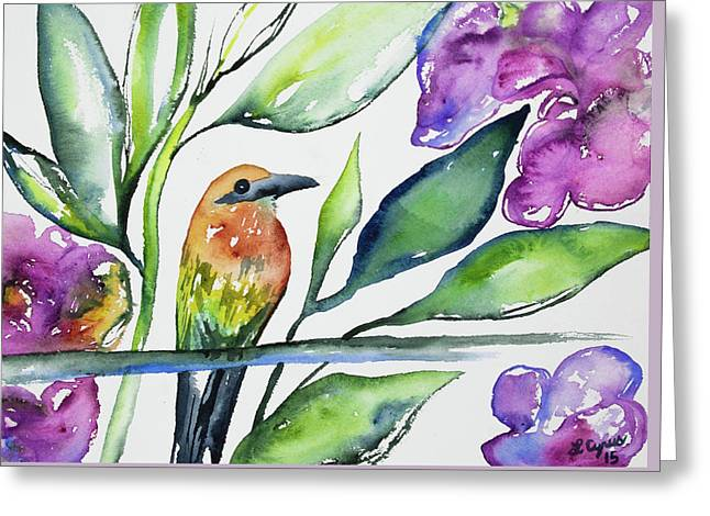 Greeting Card featuring the painting Watercolor - Rufous Motmot by Cascade Colors