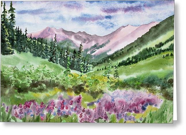 Greeting Card featuring the painting Watercolor - San Juans Mountain Landscape by Cascade Colors
