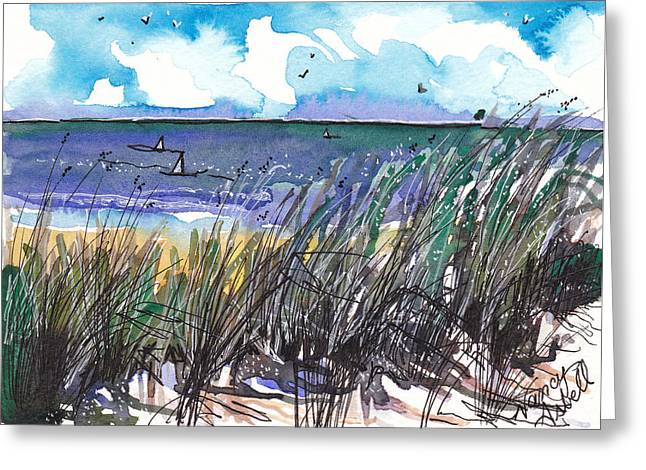 Sand Dunes Paintings Greeting Cards - Watercolor Seashore Greeting Card by Michele Hollister - for Nancy Asbell