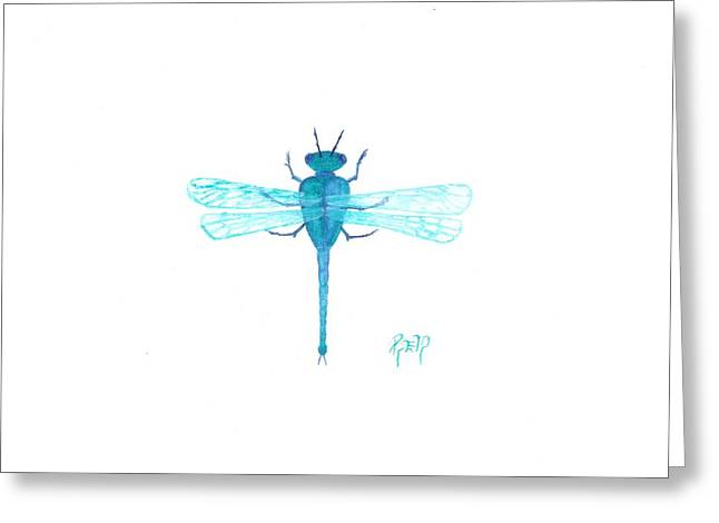 Watercolor Sketch Dragonfly Greeting Card by Robert Meszaros