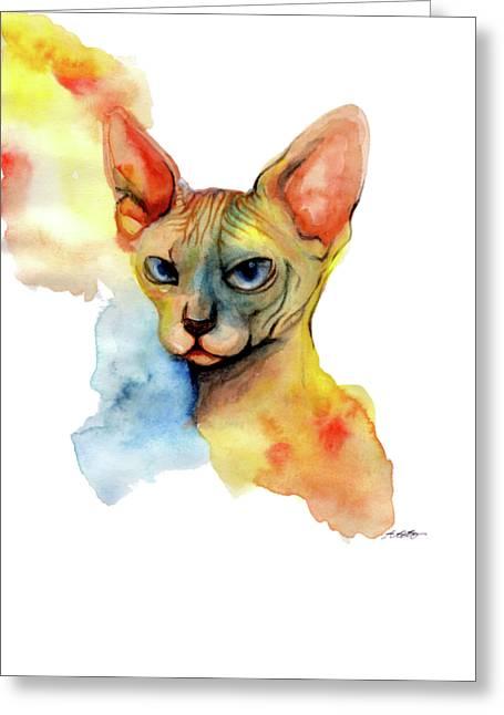 Watercolor Sphynx 2 Greeting Card