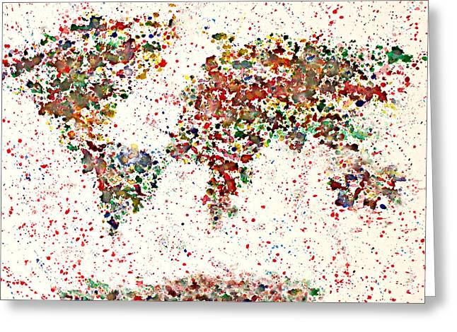 Watercolor Splashes World Map 2 Greeting Card by Georgeta  Blanaru