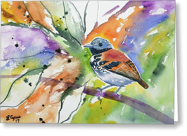 Greeting Card featuring the painting Watercolor - Spotted Antbird by Cascade Colors