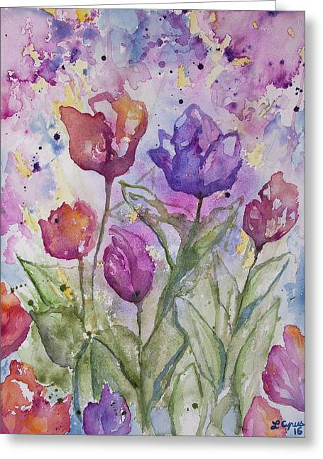 Watercolor - Spring Flowers Greeting Card