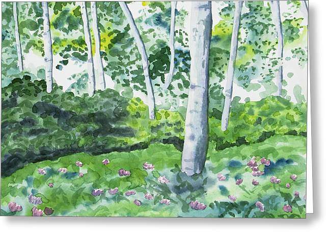 Greeting Card featuring the painting Watercolor - Spring Forest And Flowers by Cascade Colors