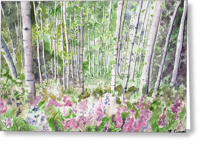 Watercolor - Summer Aspen Glade Greeting Card