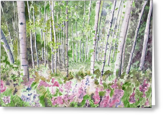 Greeting Card featuring the painting Watercolor - Summer Aspen Glade by Cascade Colors
