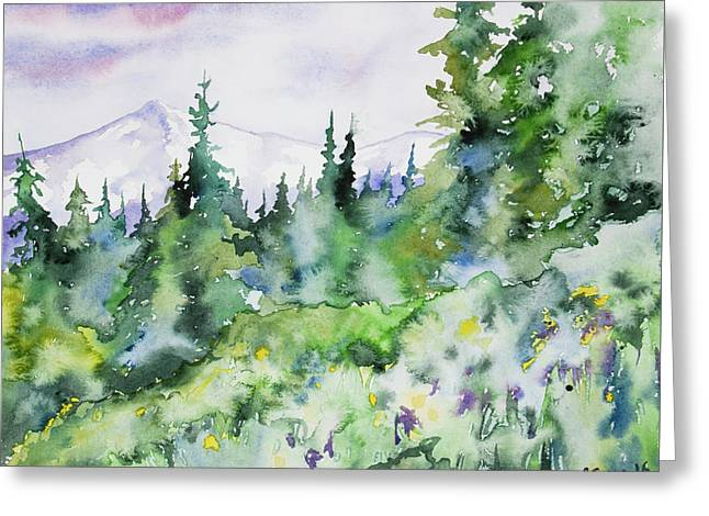 Greeting Card featuring the painting Watercolor - Summer In The Rockies by Cascade Colors
