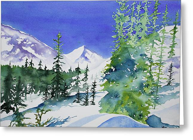 Greeting Card featuring the painting Watercolor - Sunny Winter Day In The Mountains by Cascade Colors