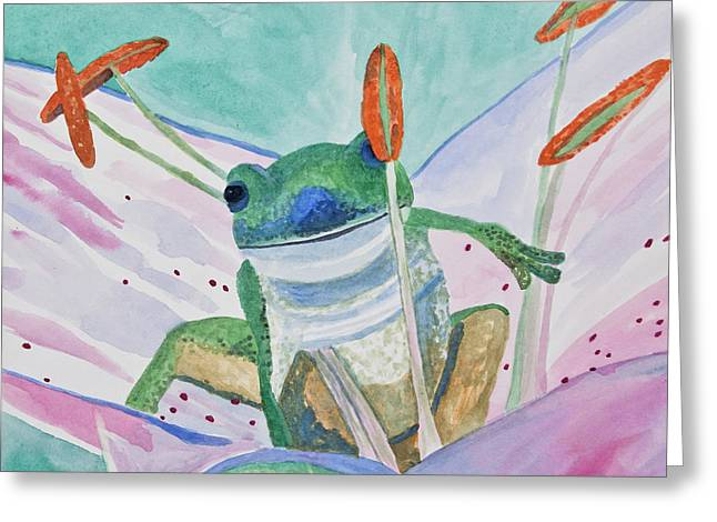 Greeting Card featuring the painting Watercolor - Tree Frog by Cascade Colors