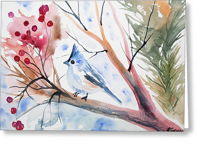 Watercolor - Tufted Titmouse With Winter Berries Greeting Card