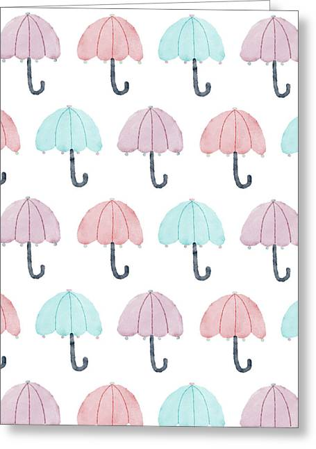 Watercolor Umbrellas Greeting Card by Christina Steward