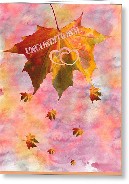 Watercolor Unconditional Love Typography On Leaf Greeting Card by Georgeta Blanaru
