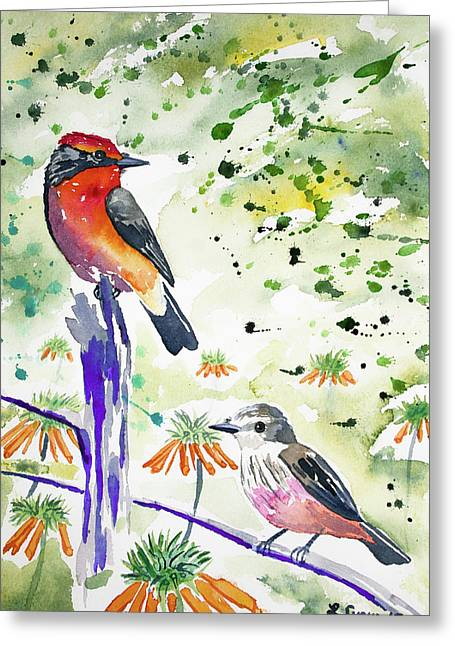 Greeting Card featuring the painting Watercolor - Vermilion Flycatcher Pair In Quito by Cascade Colors