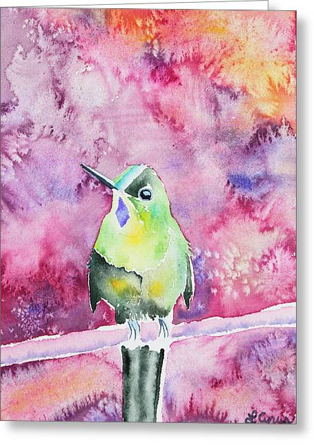 Greeting Card featuring the painting Watercolor - Violet-tailed Sylph by Cascade Colors