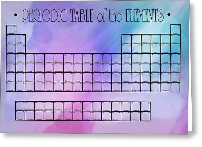 Biology Greeting Cards - Watercolor Wash Periodic Table Greeting Card by Daniel Hagerman