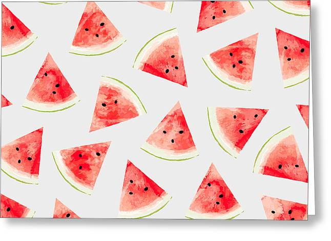 Watercolor Watermelon Pattern Greeting Card by Uma Gokhale