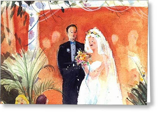 Watercolor Wedding Greeting Card by Gertrude Palmer