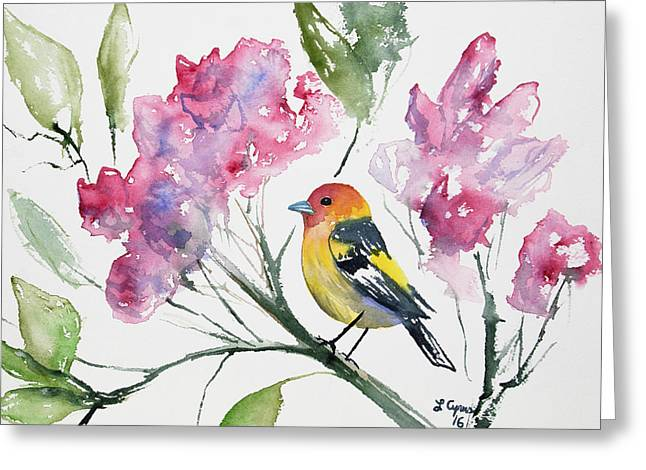 Greeting Card featuring the painting Watercolor - Western Tanager In A Flowering Tree by Cascade Colors
