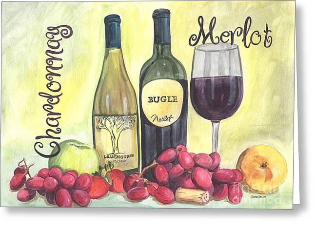 Watercolor Wine Greeting Card by Debbie DeWitt