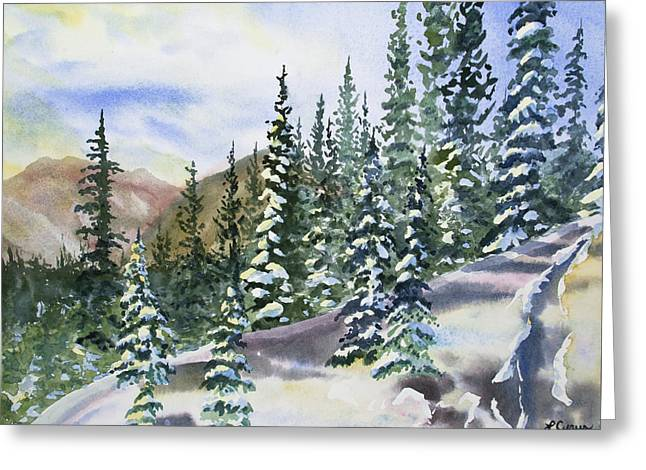 Greeting Card featuring the painting Watercolor - Winter Snow-covered Landscape by Cascade Colors