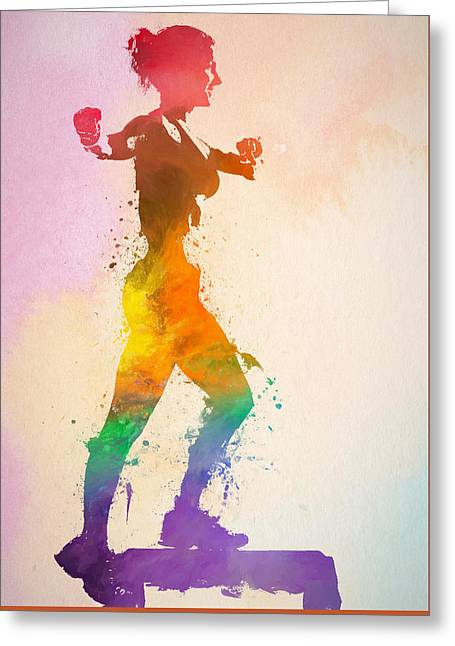 Watercolor Woman Exercising Greeting Card