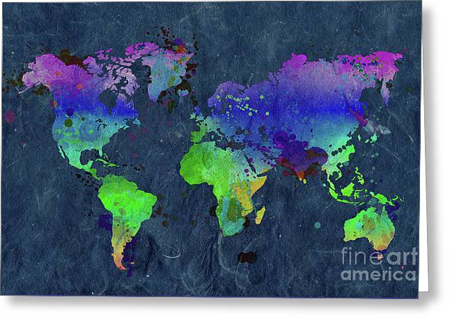Watercolor World Map Blue Greeting Card
