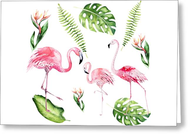 Greeting Card featuring the painting Watercolour Flamingo Family by Georgeta Blanaru