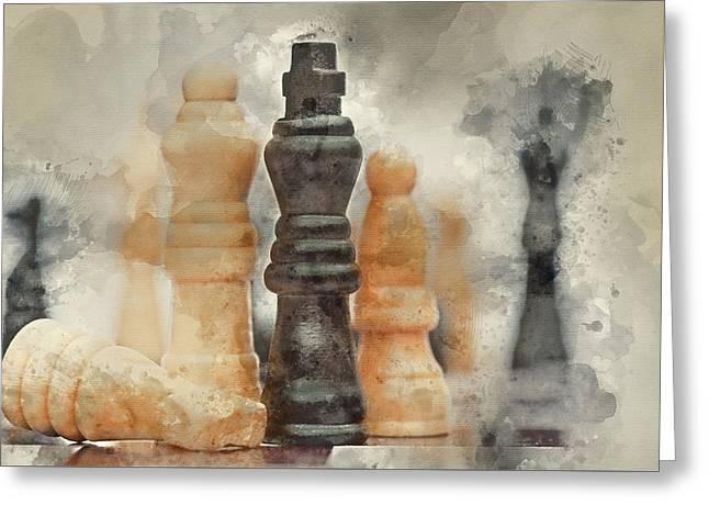 Watercolour Painting Of Application Of Chess Strategy And Tactics Into Business Field Concept Greeting Card
