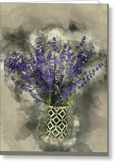 Watercolour Painting Of Beautiful Fragrant Lavender Bunch In Rus Greeting Card by Matthew Gibson