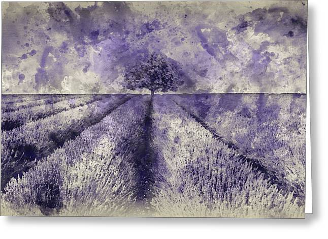 Watercolour Painting Of Beautiful Image Of Lavender Field Landsc Greeting Card