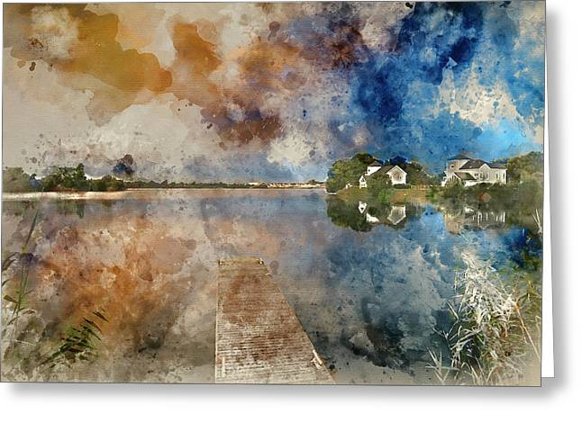 Watercolour Painting Of Beautiful Mammatus Clouds Forming Over L Greeting Card by Matthew Gibson