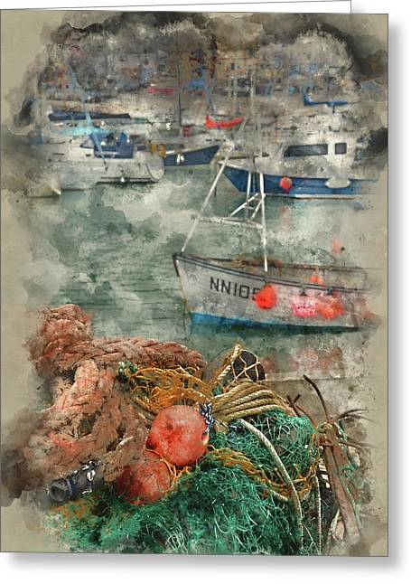 Watercolour Painting Of Fishing Nets And Boats In Lyme Regis Harbour. Greeting Card