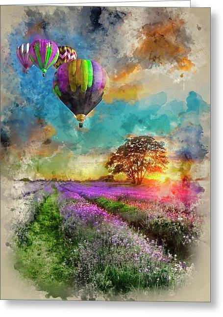 Watercolour Painting Of Hot Air Balloons Flying Over Lavender La Greeting Card