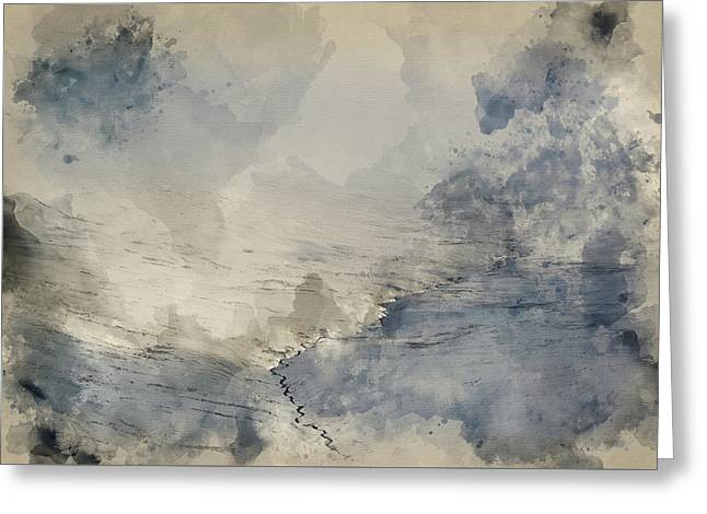 Watercolour Painting Of Moody Dramatic Low Cloud Winter Landscap Greeting Card