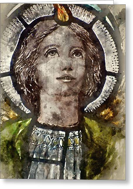 Watercolour Painting Of Stained Glass Religious Window In Church Greeting Card by Matthew Gibson
