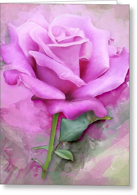 Watercolour Pastel Lilac Rose Greeting Card