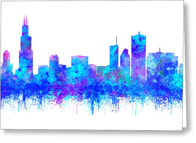 Greeting Card featuring the painting Watercolour Splashes And Dripping Effect Chicago Skyline by Georgeta Blanaru