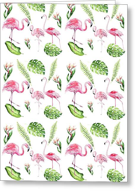 Greeting Card featuring the painting Watercolour Tropical Beauty Flamingo Family by Georgeta Blanaru