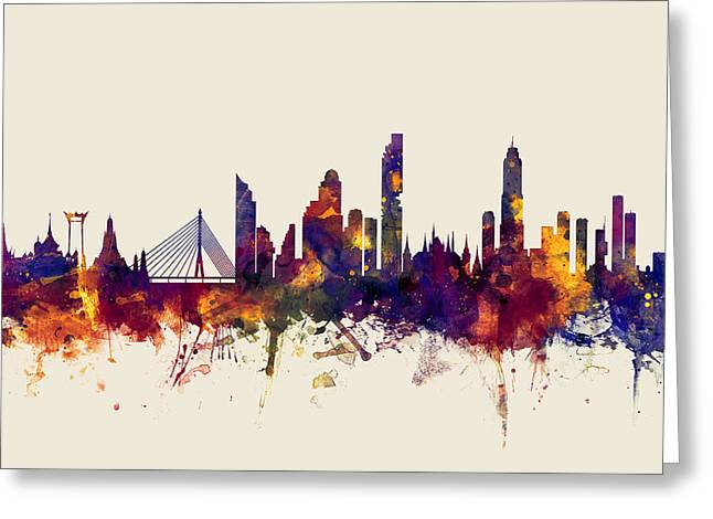 watercolour, watercolor, urban,  Bangkok, Bangkok skyline, bangkok cityscape, city skyline, thailand Greeting Card by Michael Tompsett