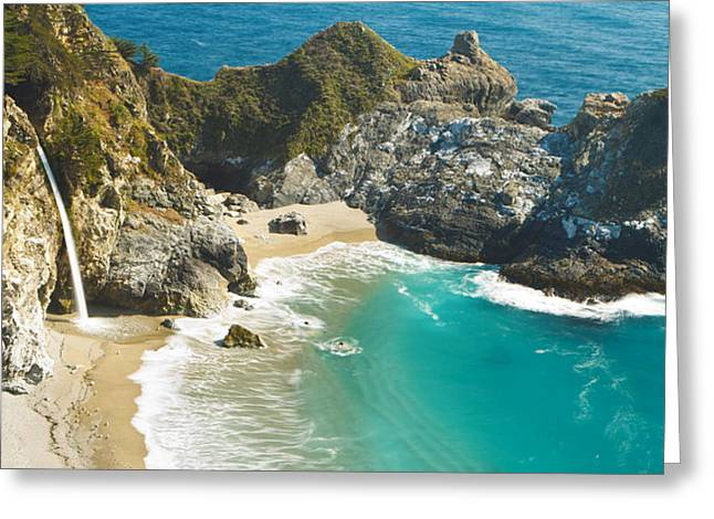 Best Sellers -  - Pfeiffer Beach Greeting Cards - Waterfall along Big Sur Greeting Card by MakenaStockMedia - Printscapes