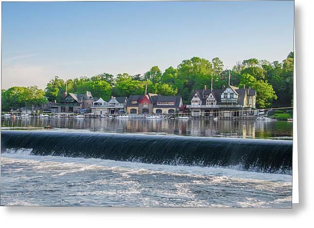 Waterfall At Boathouse Row - Philadelphia Greeting Card