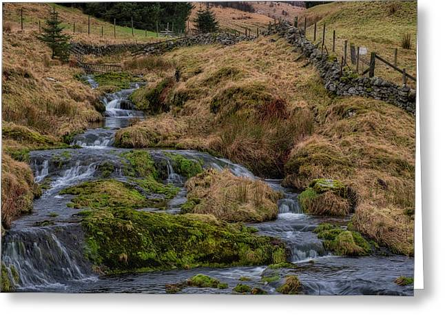 Greeting Card featuring the photograph Waterfall At Glendevon In Scotland by Jeremy Lavender Photography