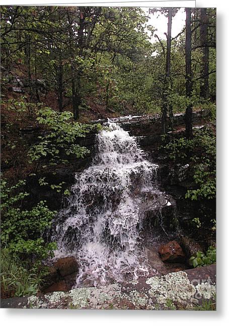 Waterfall At Mt. Magazine Greeting Card by Steve Grisham