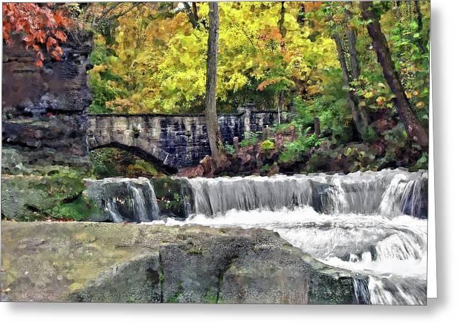 Waterfall At Olmsted Falls - 1 Greeting Card