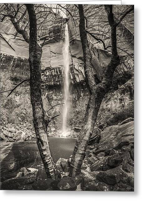 Waterfall At Upper Emerald Pool Greeting Card