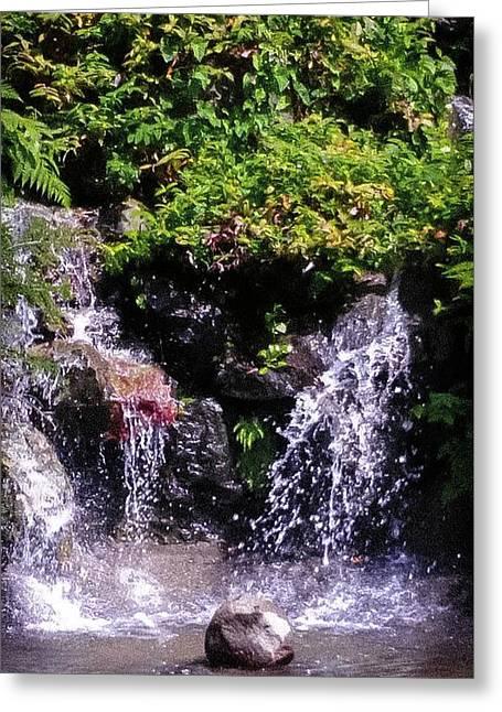 Waterfall At Wapato Park, Tacoma, Wa Greeting Card by Linda Chambers