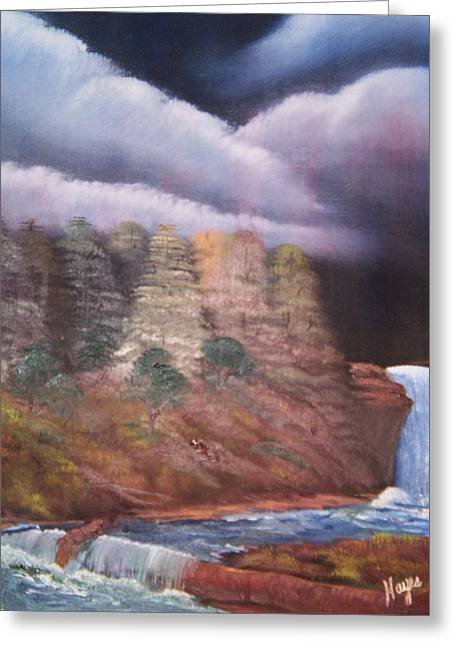 Greeting Card featuring the painting Waterfall by Barbara Hayes